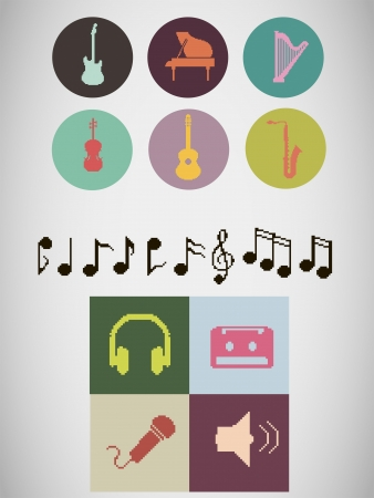 Set of pixel music instruments icons and other different pixel music icons, including notes