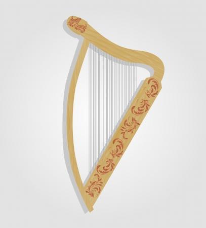 vector illustration of wooden harp