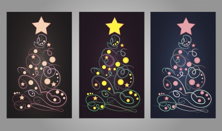 Vector illustration of abstract Christmas trees in 3 variations Stock Vector - 21590646
