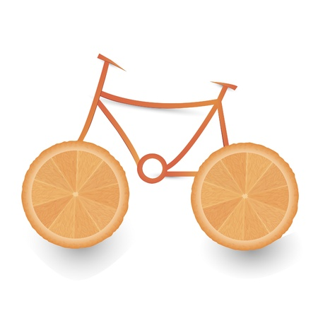 Vector illustration of slices of ranges in form bicycle