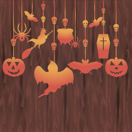 Vector illustration of Halloween decorations on wooden background Illustration