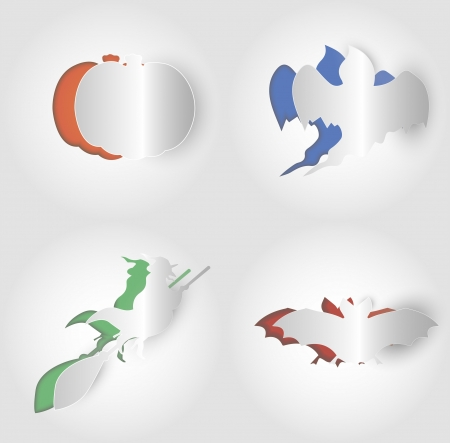 Set of paper Halloween symbols in minimalistic style Illustration
