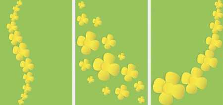 oilseed rape: set of banners with paper rape flower petals  Illustration