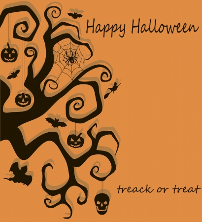 illustration of banner with Halloween tree and other Halloween symbols, including pumpkin, witch, ghost and spider  Vector
