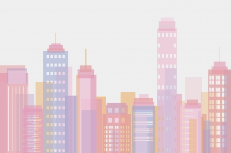 Vector illustration of city buildings in rose pastel tones Stock Vector - 22165652