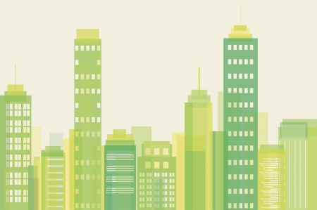 solar symbol: Vector illustration of green city buildings
