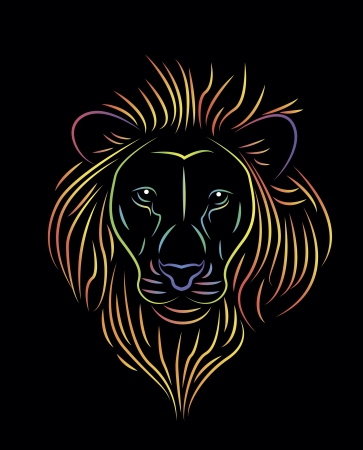 illustration of colorful lion drawing