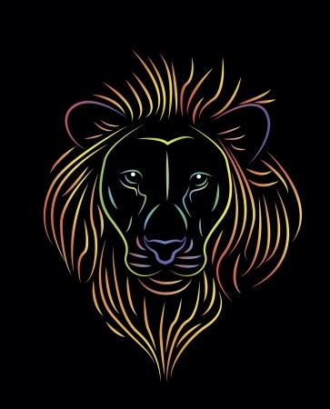 illustratie van kleurrijke leeuw tekening Stock Illustratie