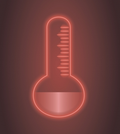 hot temperature: Vector illustration of glowing thermostat symbol