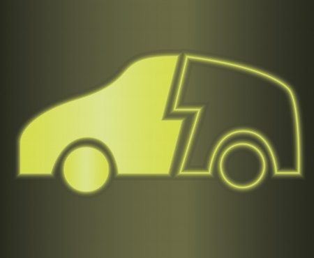 hybrid car: Vector illustration of glowing hybrid car symbol