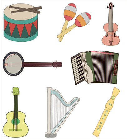 maracas: A set of colorful musical instruments, which consists of banjo, violin, guitar, accordion, drum, maracas and harp