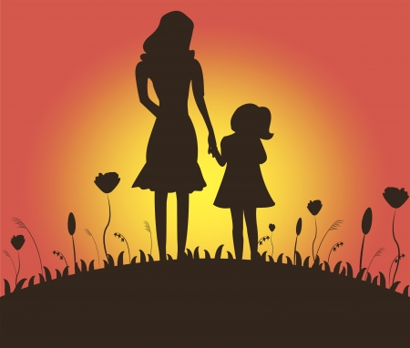 adoptive: Silhouette of mother and adoptive daughter against the background of sunrise Illustration