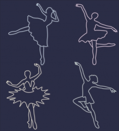 Four neon silhouettes of dancing ballerinas on dark-blue background