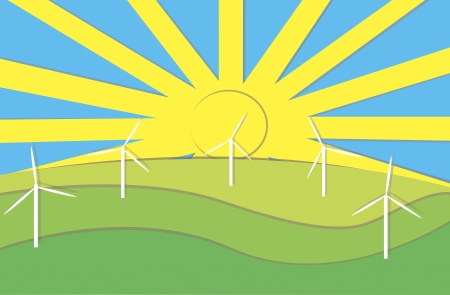clean cut: applique of energy-producing windmills against blue sky and sun
