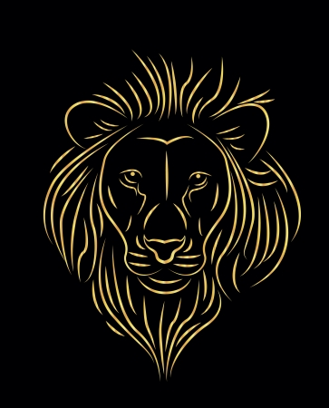 vector illustration of golden lion drawing