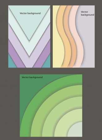set of vector banners with geometric paper figures Illustration