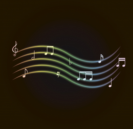 g clef: vector illustration of glowing notes encircling a card