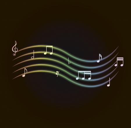 encircling: vector illustration of glowing notes encircling a card