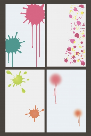 vector illustration of set of four banners with colorful blots, spots and splashes