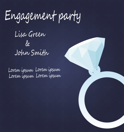 vector engagement invitation with diamond ring Vector