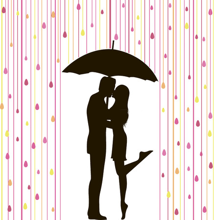 couple in rain: abstract vector illustration of couple silhouette under colorful rain Illustration