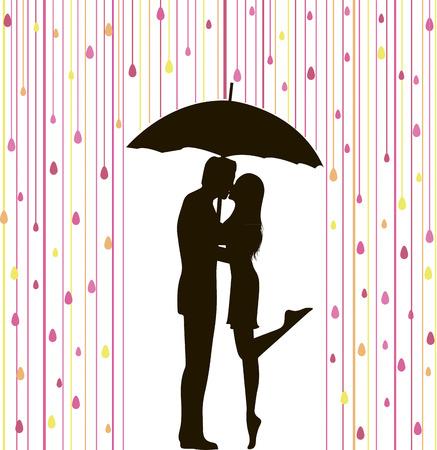 lluvia: resumen ilustración vectorial de silueta de pareja bajo la lluvia de colores