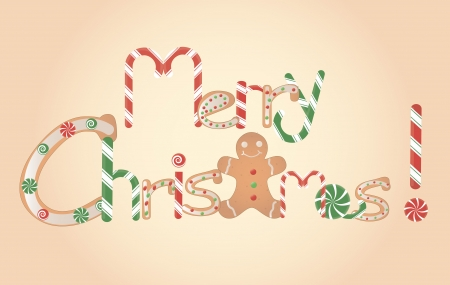 vector illustration of Merry Christmas inscription consisting of candies and ginger bread Stock Vector - 23124403