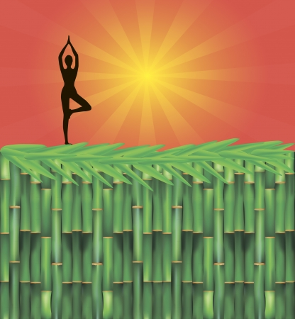 Illustration of yoga advertisement including bamboo decoration and girls doing yoga Vector