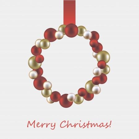 coronas de navidad: ilustración vectorial de la corona de Navidad hecho de bolas
