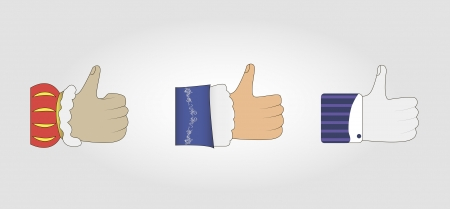Vector illustration of 3 hands with thumb up concerning to different historic époques