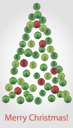 consisting: Vector illustration of Christmas tree consisting of green and red Christmas tree balls