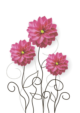 vector illustration of dahlia flowers with drawn sprouts