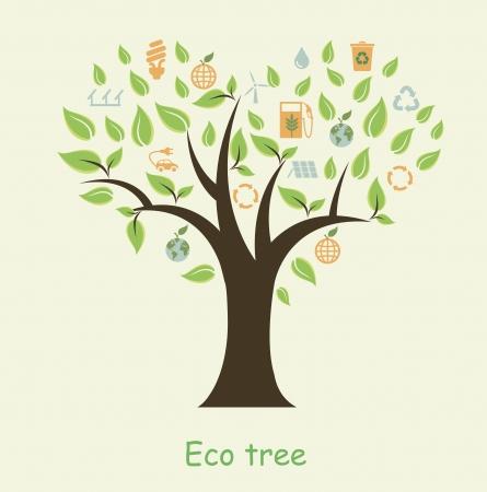 illustratie van de boom met eco pictogrammen in de vorm van de boom Stock Illustratie