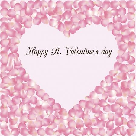 pink rose petals: illustration of pink rose petals in form of heart