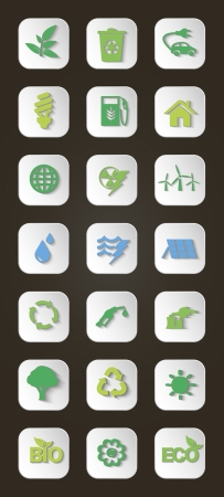 Vector set of icons concerning to ecology, energy and recycling industries themes  Shadows are editable Vector