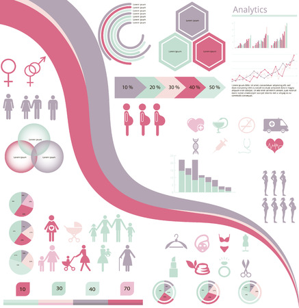 vector set of infographic elements and icons concerning to pregnancy, family, gender and fashion themes Vector