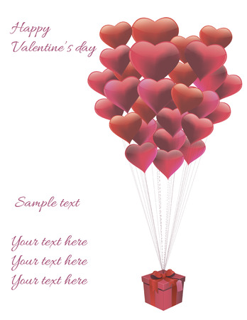vector card with balloons in form of heart with a gift Vector