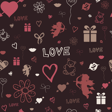 happy valentine s day: Vector illustration of Valentine pattern decorated with red bow and sketched St  Valentine's day symbols
