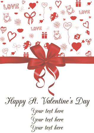 st valentine  s day: Vector illustration of Valentine card decorated with red bow and sketched St  Valentine's day symbols