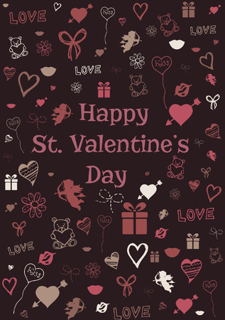 st valentine  s day: Vector illustration of Valentine card decorated with sketched St  Valentine's day symbols Illustration