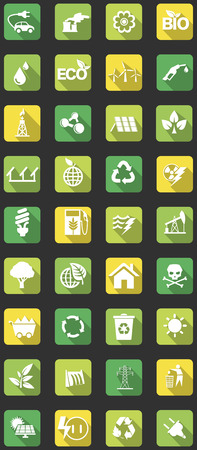 vector set of flat icons concerning to ecology, energy, alternative energy and sustainable development themes  イラスト・ベクター素材