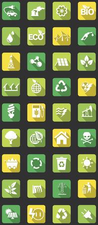 vector set van vlakke pictogrammen met betrekking tot ecologie, energie, alternatieve energie en de thema's van duurzame ontwikkeling Stock Illustratie