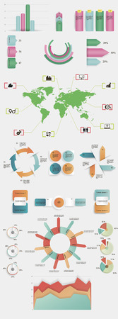 vector infographic elements with shadows for describing various themes