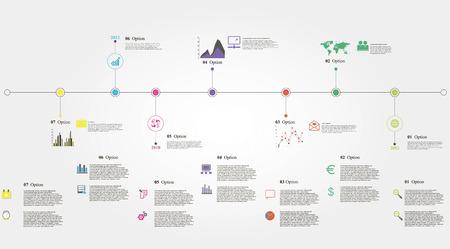 Vector illustratie van de tijdlijn info graphics met 21 iconen, 1 wereldkaart en 3 verschillende soorten schema totaal bestand bevat 14 groepen van elementen, die niet-gegroepeerd kunnen worden, gecombineerd of recolored