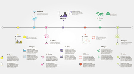 Vector illustration of timeline info graphics with 21 icons, 1 world map and 3 different kinds of diagram  Altogether file contains 14 groups of  elements, which can be ungrouped, combined or recolored