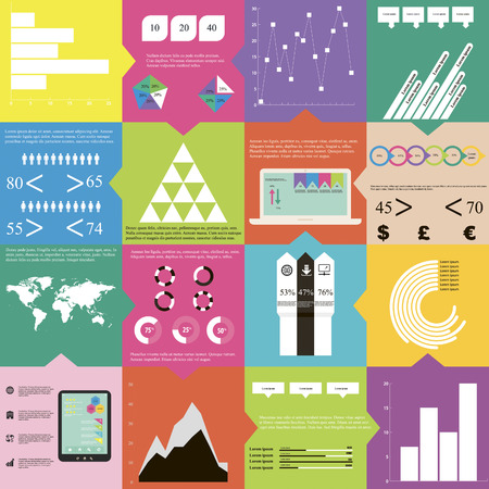 Set of different groups of infographic elements, which can be useful at any work  Infographics includes 12 icons, 1 world map, 5 text sections, 6 different kinds of diagrams,  6 infographic elements for data in numbers