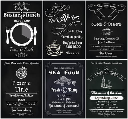 advertising template: vector set of 6 food flyers, including coffee, dessert, sea food, wine , pizza and business lunch flyers Illustration