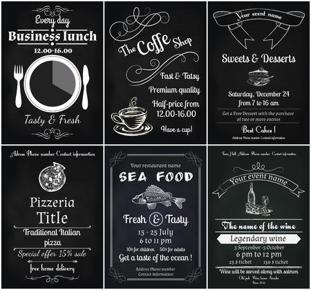vector set van 6 voedsel flyers, inclusief koffie, dessert, zee voedsel, wijn, pizza en zakenlunch flyers