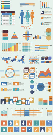Vector set of infographic elements concerning to medical themes Vector