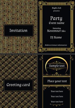 vector illustratie van wenskaarten uitnodigingen in art deco-stijl